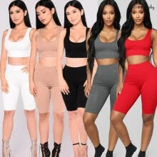 -Sexy Women Summer Tight Sets Fitness Clothing Workout Vest Top & High Waist Shorts on JD