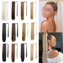 -Natural Hairpiece Wig Human Hair Extensions Ponytail Wrap Clip In Long on JD