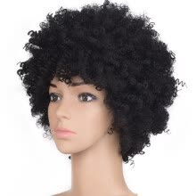 -Black Synthetic Curly Wigs for Women Short  Wig African American Natural on JD
