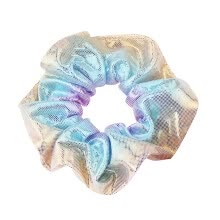 -Pink and blue laser fabric hair ring bronzing two-color large intestine circle head flower on JD