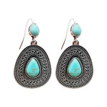 -Vintage Boho Turquoise Gemstone Drop Dangle Hooks Earrings Wedding Engagement on JD