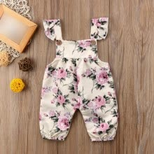 -Baby Girls Autumn Spring Pants Children Floral Cotton Sleeveless Elastic Suspenders Pants Bodysuit Overalls Trousers on JD