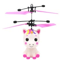 -1pc Unicorn Design Flying Toy Gesture Induction Aircraft Toy Body Induction Toy USB Charging Toy for Kids Children (Red) on JD