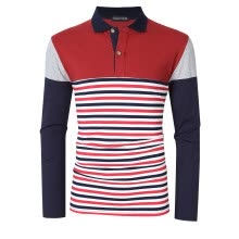-Men's Striped Color Block Slim Fit Long Sleeve Polo Shirt Color:Red Size:XL on JD