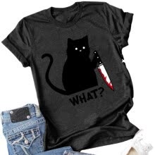 -Women Cat Printed T Shirts on JD