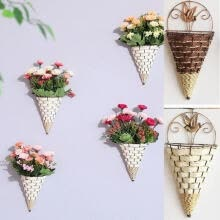 herb-tea-Fashion Flower Plant Pot Home Garden Wall Fence Iron Hanging Planter Basket Cone Style on JD