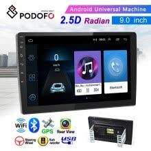 -Android 9.1 2 Din GPS Car Stereo Radio 9'' HD 1080P 2.5D Tempered Glass Mirror Car MP5 Player with Bluetooth WIFI GPS FM Radio on JD
