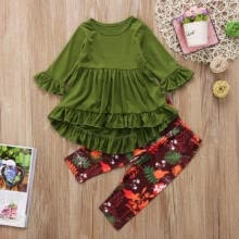 -Casual Autumn Kids Baby Girls Cotton Outfits Ruffle Long Sleeve Dress Tops Flowers Pants Girls Clothes 2Pcs Sets 2-7Y on JD