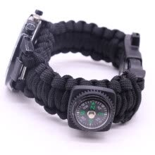 -Outdoor Survival Watch Bracelet Paracord Compass Flint Fire Starter Whistle NewD on JD