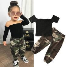 -Toddler Kids Baby Girls Clothing Sets Short Sleeve Off Shoulder T-shirts Tops Camouflage Pants Outfits on JD