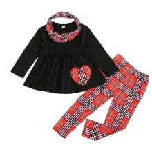 -Girl's Three-piece Suit, Plaid Print Long Sleeve Tops + Pants + Headwear on JD