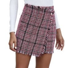 -Women Mini Skirt High Waist Plaid Pencil Skirts 2020 Autumn Party Clubwear Casual Short Clothing Elegant Skirts For Office Lady on JD