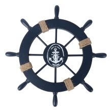 -Mediterranean Nautical Wooden Boat Ship Wheel Helm Home Wall Party Decoration (Dark Blue) on JD