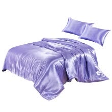 -Quilt Cover Artificial Silk Duvet Cover Zipper Sleeping Pillowcase Bedding Set, Queen, 229x229cm, Purple on JD