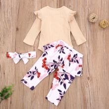 -Baby Girl Round Neck Ruffle Skirt Top, Flower Pants, Headband Suit on JD