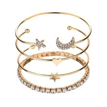 -4Pcs/Set Ladies Bracelets Moon Star Rhinestones Bracelets Fashion And Elegant for Girls New on JD
