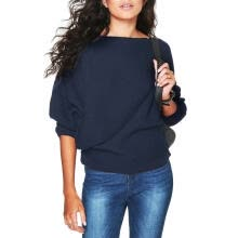 -Leisure Bat Sleeve Women Knit Sweater Stretch Solid Pullover (Navy Blue L) on JD