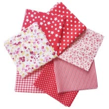 -Dido 7 Pcs/set Printed Cotton Patchwork Fabric Squares Bundle Quilting Scrapbooking Sewing Craft DIY Cloth, Red, 25x25cm on JD