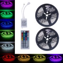 -drunkilk 10M 5050 SMD RGB 2X5M 600LEDs LED Light Strip 44 Key IR Remote Controller on JD
