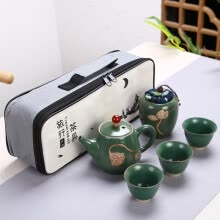 -Portable Chinese Tea Set Ceramic Teapot Leaves Jar 3 Porcelain Tea Cups with Carrying Case New on JD