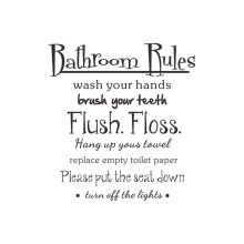 -Mnycxen Bathroom Rules Wash Vinyl Wall Home Decor Decal Quote Room Inspirational Cute on JD