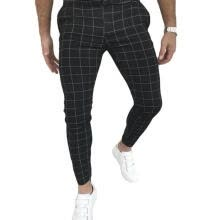 -Men Casual Plaid Print Pants High Waist Skinny Pencil Slim Fit Trousers on JD