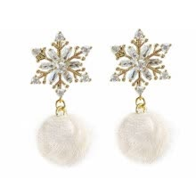 -Women Earrings Fashion Lovely Snowflake Pompom Stud Earrings Charm Earrings on JD