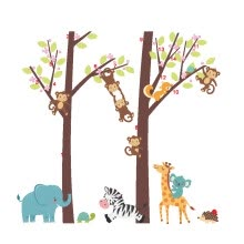 -TOYFUNNY Jungle Animal Tree Kids Baby Nursery Wall Sticker Mural Decor Decal Removable on JD