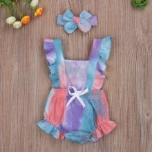 jumpsuits-playsuits-bodysuits-GL961-Baby Girls Summer Romper with Hair Band, Gradient  Sleeveless Button Jumpsuit on JD