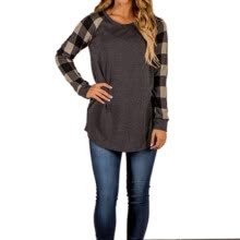 -Women Fashion Plaid Print Stitching Long Sleeve O-Neck T-shirt Cotton Patchwork Casual Style T-Shirt on JD