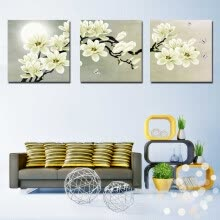 -Triptych White Flower Abstract Modern Oil Painting Art Painting Decoration on JD