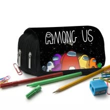 -HOTBEST Among Us Zipper Canvas Pencil Holder Students Storage Black Funny Bag Sc on JD