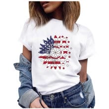 -CieKen Womens American Flag Short Sleeve T-Shirt Casual Stars and Stripes Patrio Tops on JD