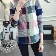 -Ladies Casual Cotton Long Sleeve Plaid Shirt Women Slim Outerwear Blouse Tops Blusas Size on JD