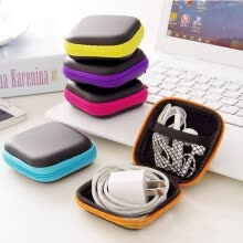 accessory-bundles-Hot Mini Zipper Hard Headphone Case Portable Earbuds Pouch box PU Leather Earphone Storage Bag Protective USB Cable Organizer on JD