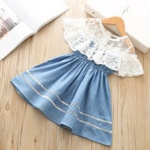 -Toddler Kids Baby Girls Clothes Flower Lace Denim Party Pageant Princess Dress on JD