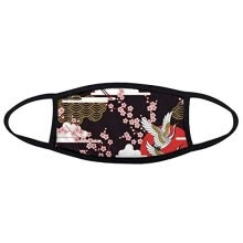 headgear-Japan Culture Japanese Style Cranes Fuji Sakura Cloud Sun Repeat Illustration Pattern Face Anti-dust Mask Anti Cold Maske on JD