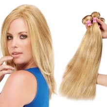 -Nami Hair Piano Color Brazilian Straight Hair Weave 3 Bundles Honey Blonde P27/613 Human Hair Extensions on JD