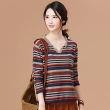 -Yu Zhaolin 2019 new Korean version of loose lazy wind sweater women casual wild V-neck striped sweater YWYC191266 Navy blue M on JD