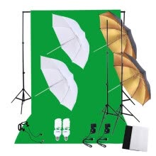 -Professional Photography Photo Lighting Kit Set with 45W 5500K Daylight Studio Bulbs Light Stands Black White Green Nonwoven Fabri on JD