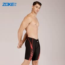 -ZOKE swimming trunks male five points flat angle anti-mite men professional training comfortable sports swimming trunks LL86O2371 black safflower 3XL on JD