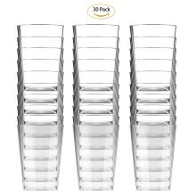 cups-Happy-Life 10 oz Clear Plastic Cups Disposable Cups Fashioned Tumblers Beverage Party Cups Hard Plastic Drinking Cups on JD