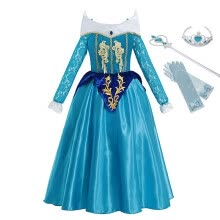 24958fe7623 MUABABY Girls Blue Aurora Fancy Dress Up Clothes Long Sleeve Sleeping  Beauty Princess Costume Kids Christmas Party Cosplay Gown
