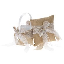 -7 * 7 inches Vintage Burlap Lace Bowknot Ring Bearer Pillow and Rustic Wedding Flower Girl Basket Set on JD
