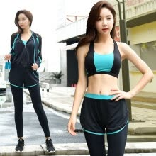 -Colorful 2019 new yoga clothing suit spring breathable and quick-drying running clothes four-piece loose thin women's fitness sportswear blue + black L on JD
