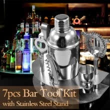 -7pcs Bar Tool Cocktail Shaker Stainless Steel Stand Bartender Kit Jigger Opener Shaker Tong Drink Mixing for Parties Bar on JD