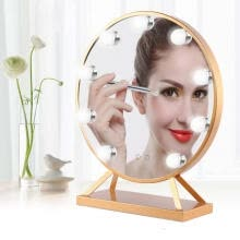 -Greensen Round Cosmetic Mirror With 9 LED Bulbs Golden Makeup Mirror 100-240V US Plug on JD