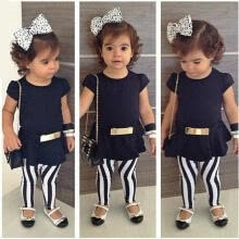 -3pcs Toddler Infant Girls Outfits Short Sleeve T-shirt+Pants+Belt Clothes Set on JD