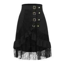 -Roseonmyhand Women's Steampunk Clothing Party Club Wear Punk Gothic Retro Black Lace Skirt on JD