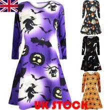 -UK Stock Women Pleated Halloween Retro Vintage Dress A Line Pumpkin Swing Dress on JD